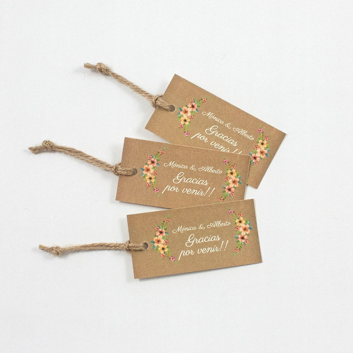 Etiqueta boda Wildflowers kraft