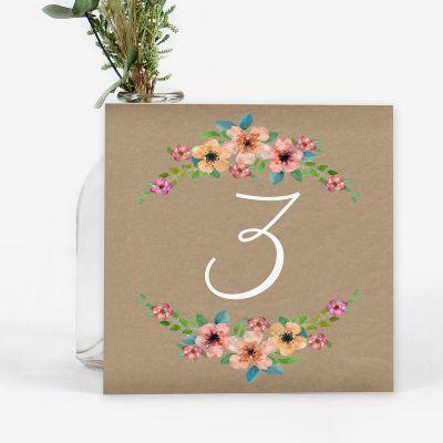 Número mesa boda Wildflowers Kraft