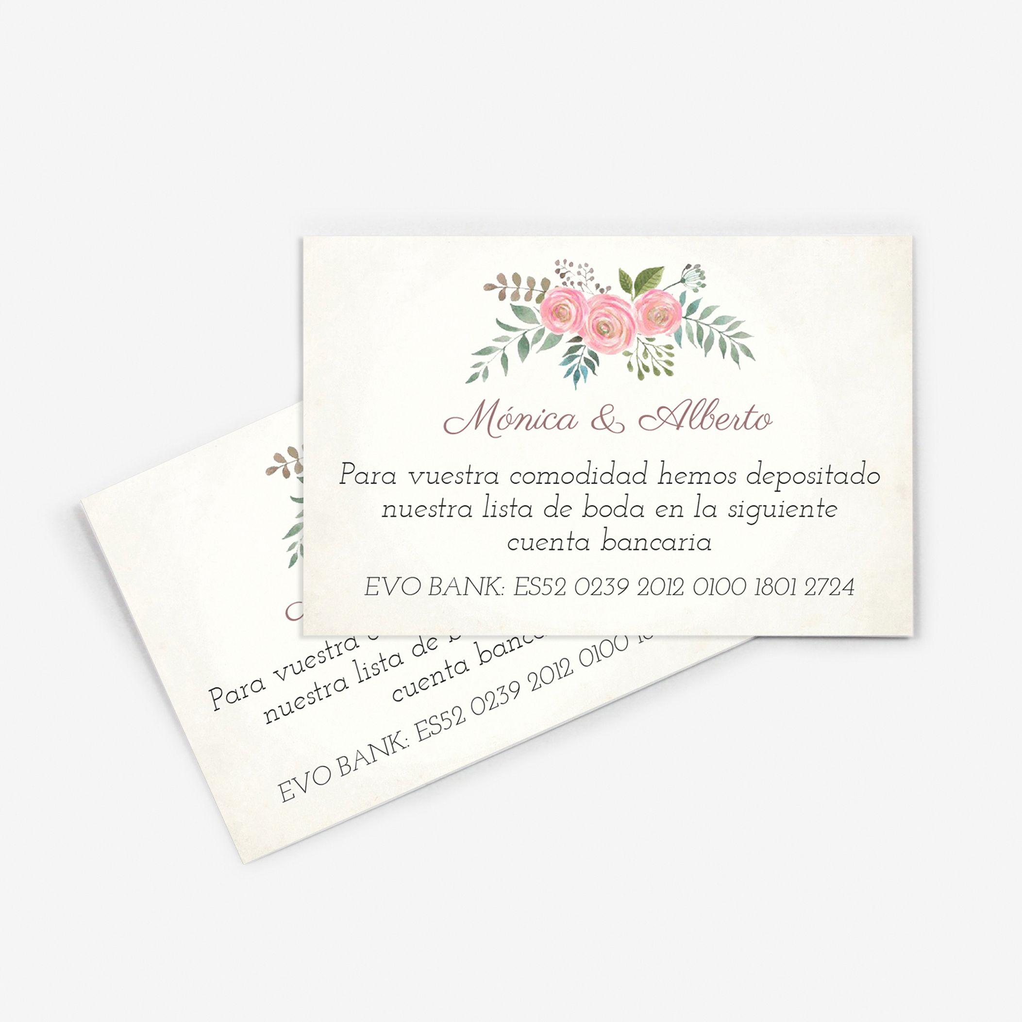 Tarjeta nº cuenta boda Serena Vintage
