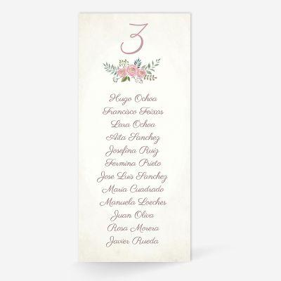 Plan de mesa (Seating plan) boda Serena Vintage