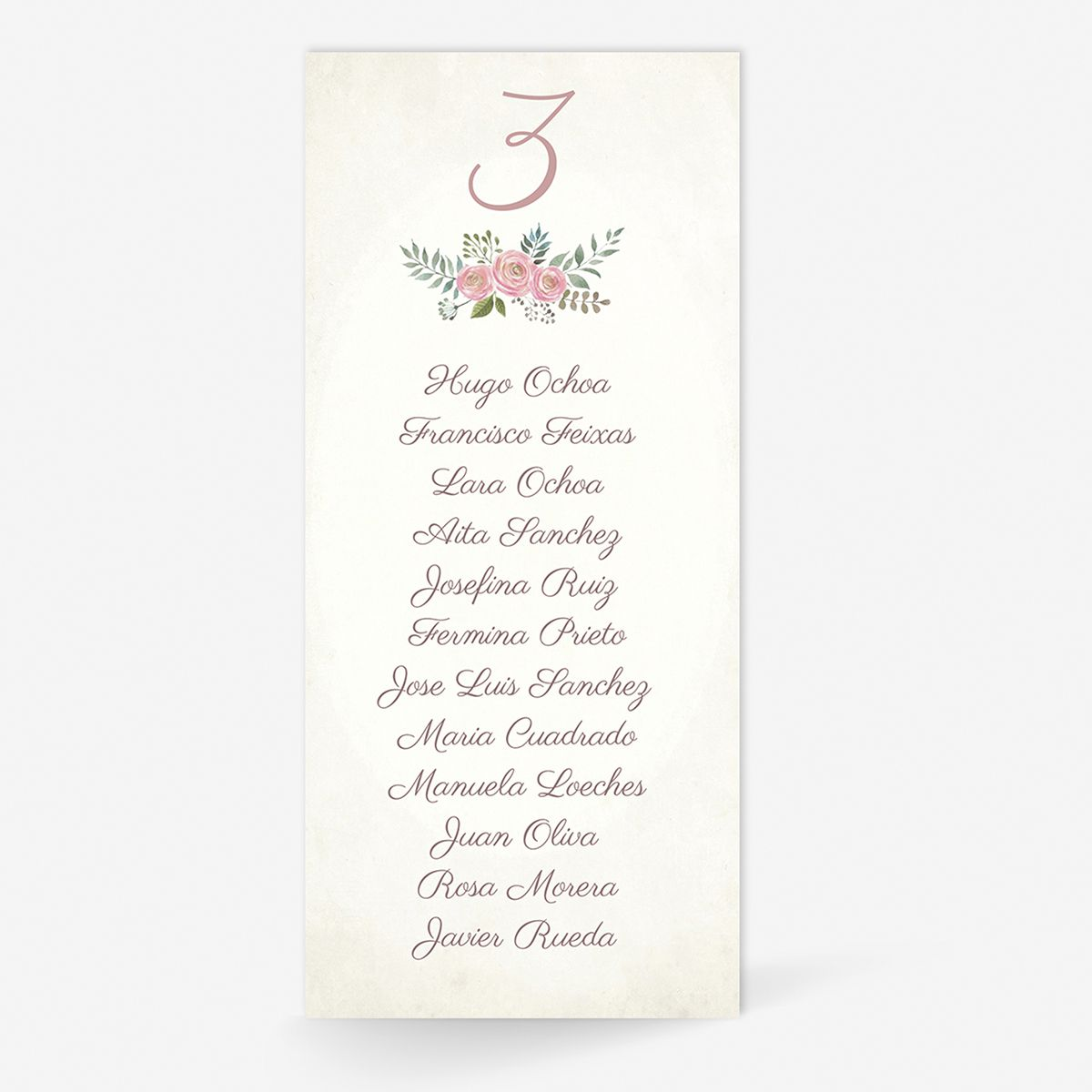 Plan de mesa (Seating plan) boda Serena Vintage