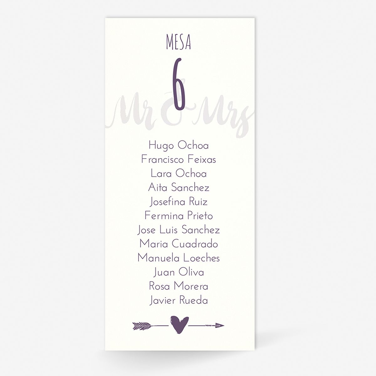 Plan de mesa (Seating plan) boda Mr & Mrs