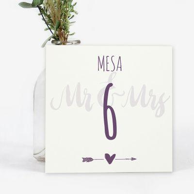 Número mesa boda Mr & Mrs