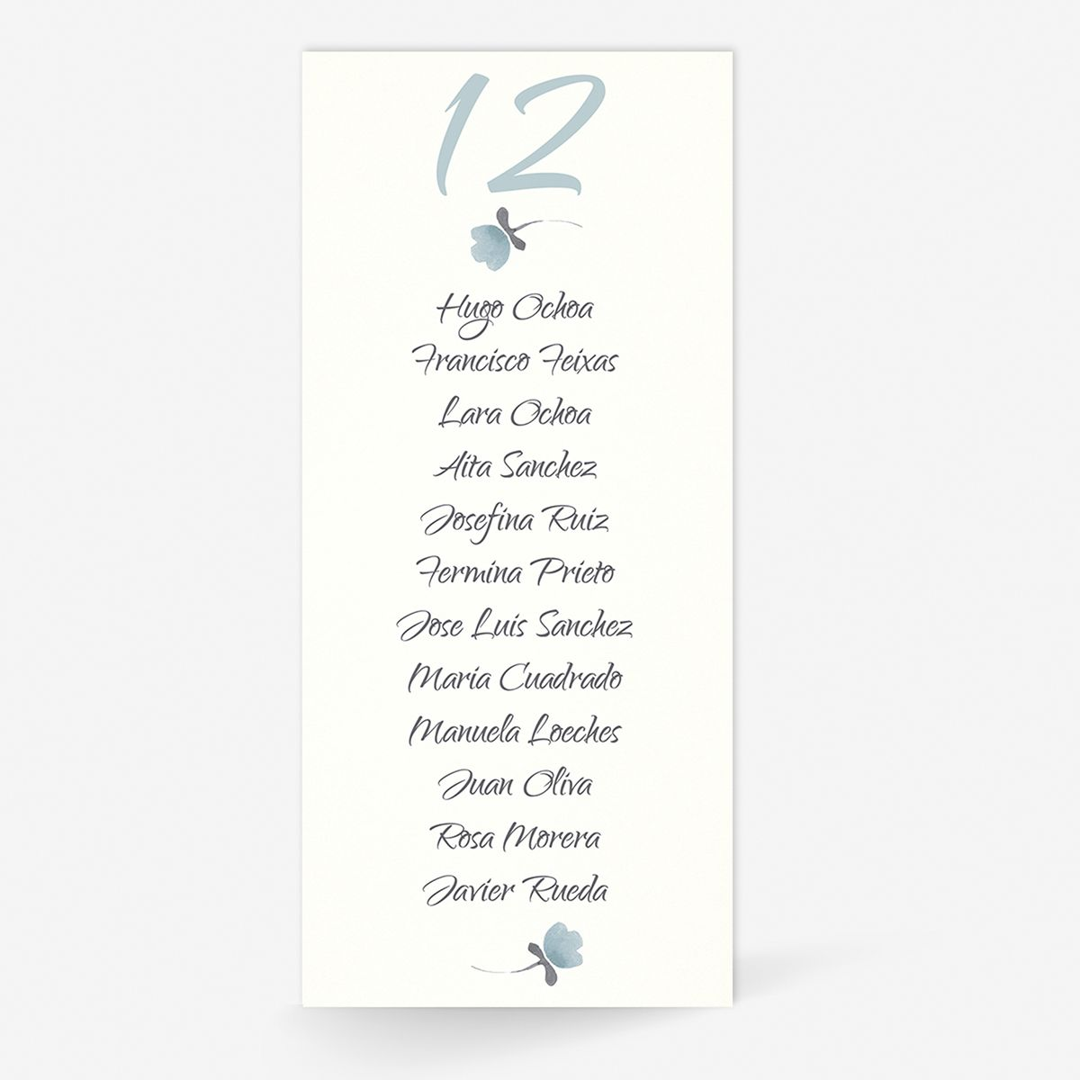 Plan de mesa (Seating plan) boda Tintanuez