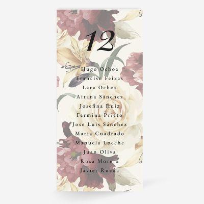 Plan de mesa (Seating plan) boda Rosalia