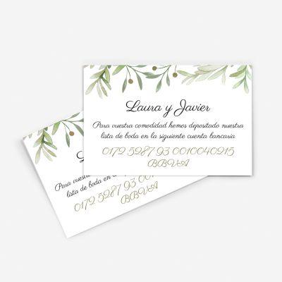 Tarjeta nº cuenta boda Verde Olivo