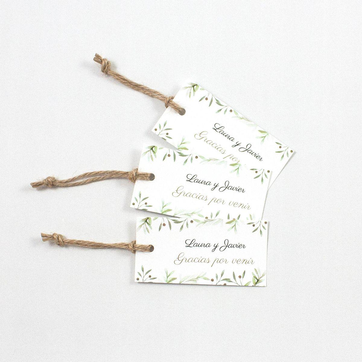Etiqueta boda verde olivo