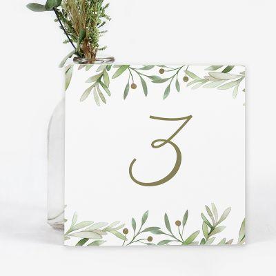 Número mesa boda Verde Olivo