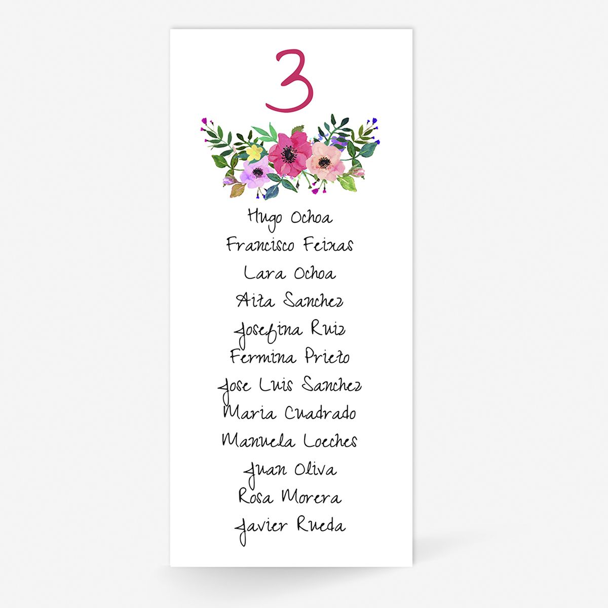 Plan de mesa (Seating plan) boda Renata