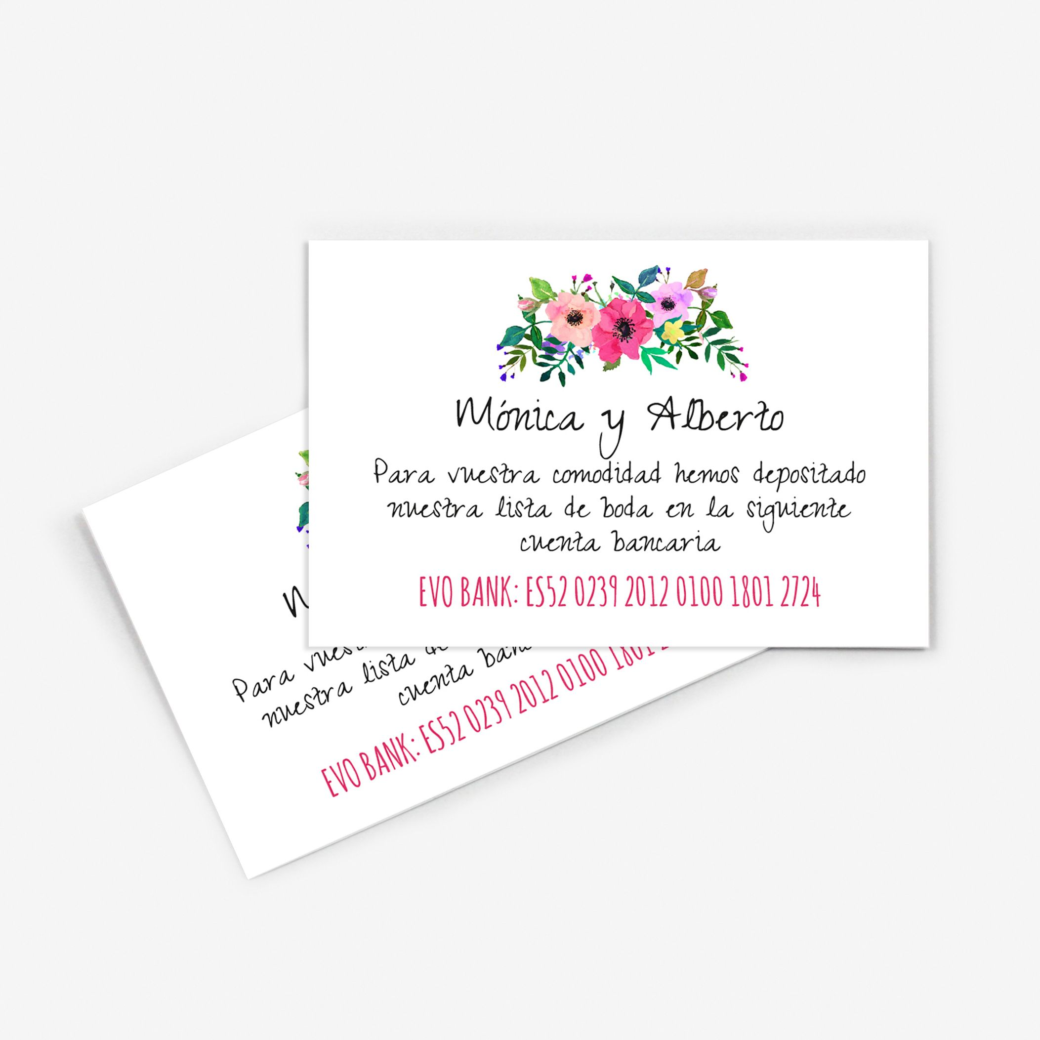 Tarjeta nº cuenta boda Renata