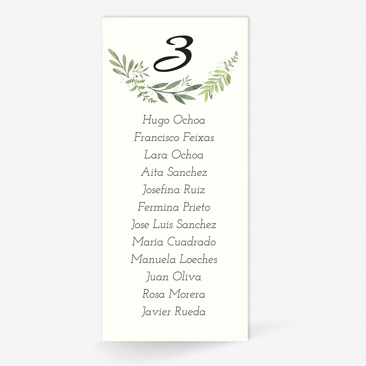 Plan de mesa (Seating plan) boda Olivo Miss