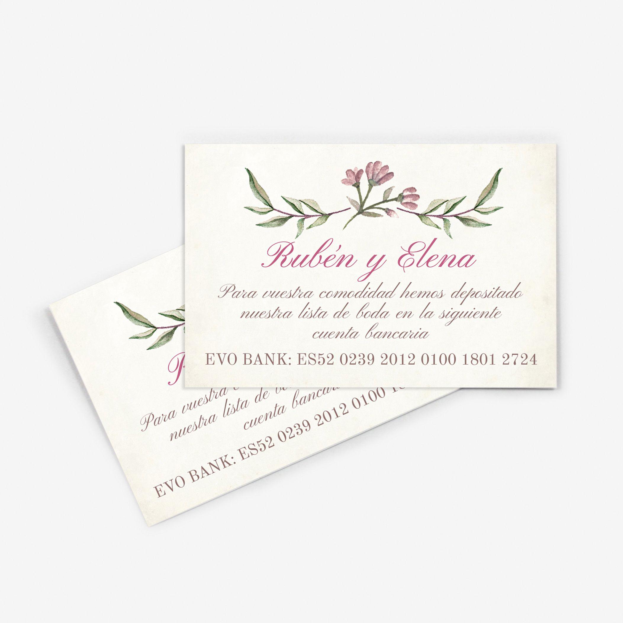 Tarjeta nº cuenta boda Blooms Write
