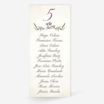 Plan de mesa (Seating plan) boda Blooms Write