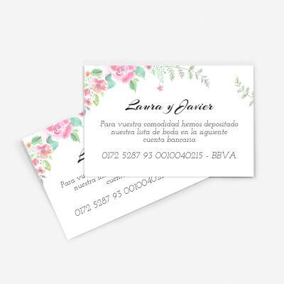 Tarjeta nº cuenta boda chic garden
