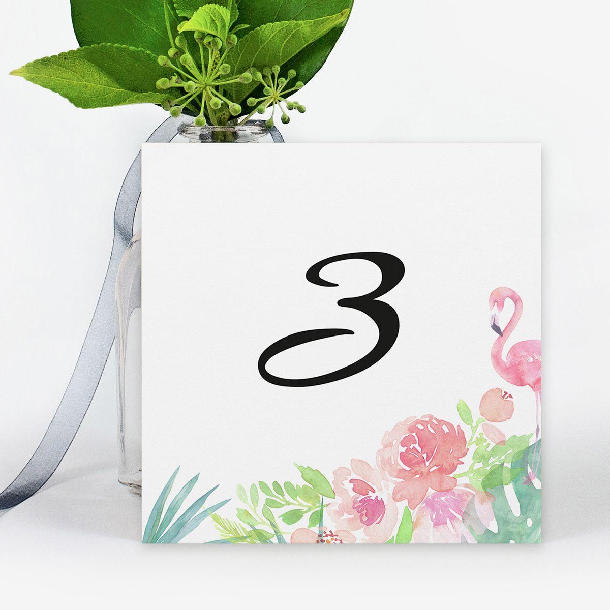 Número mesa boda Chic tropical