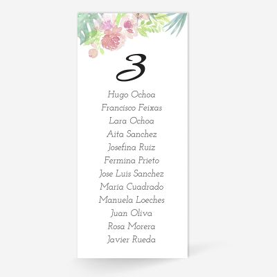 Plan de mesa (Seating plan) boda Chic Tropical