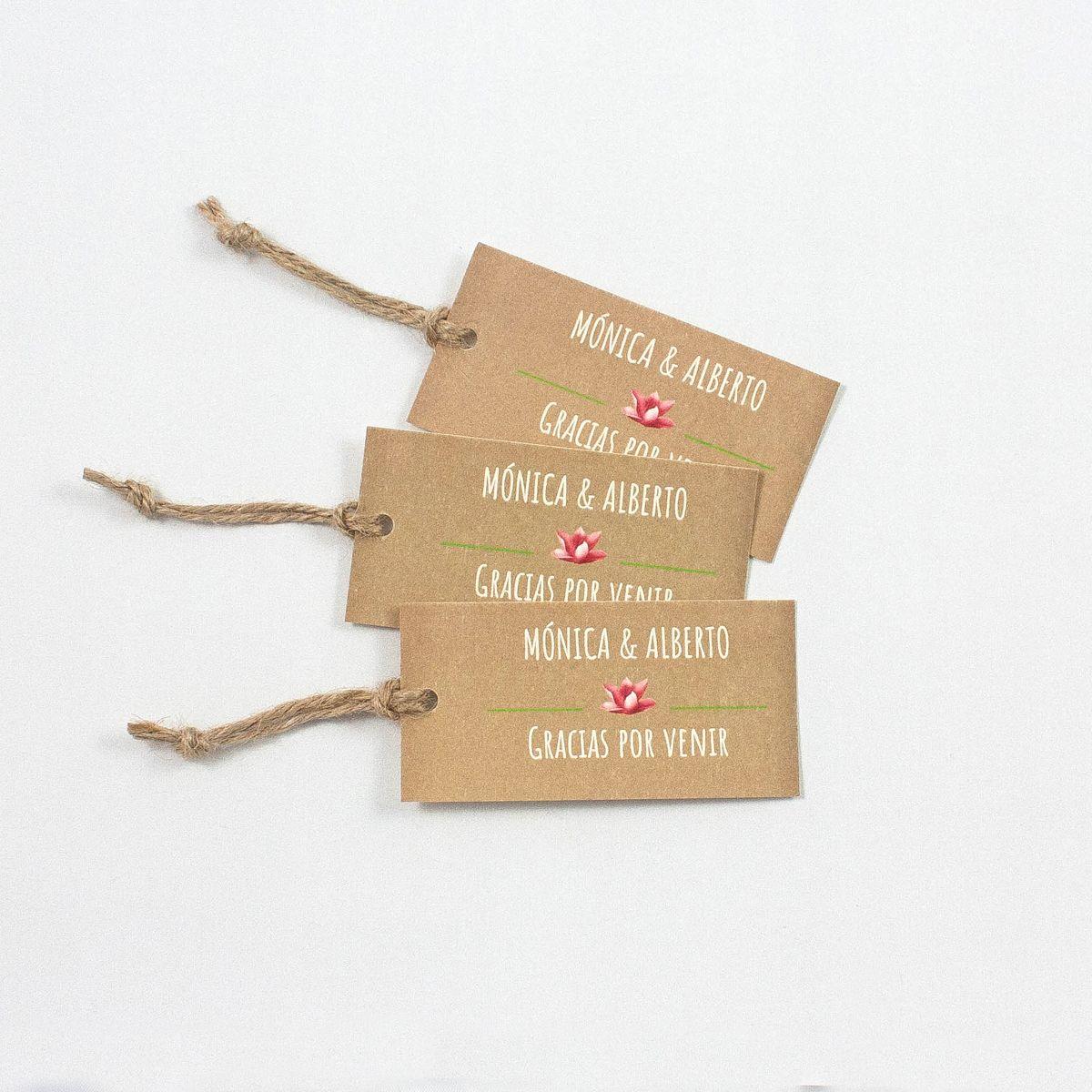 Etiqueta boda Tropical Kraft