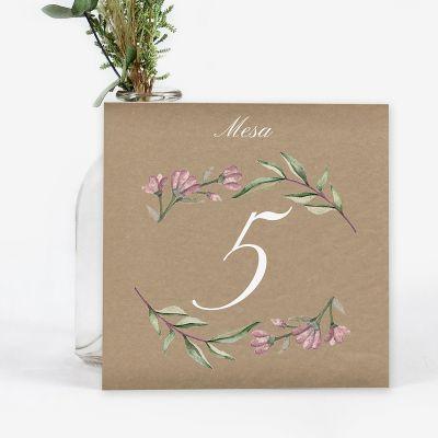 Número mesa boda Blooms Kraft