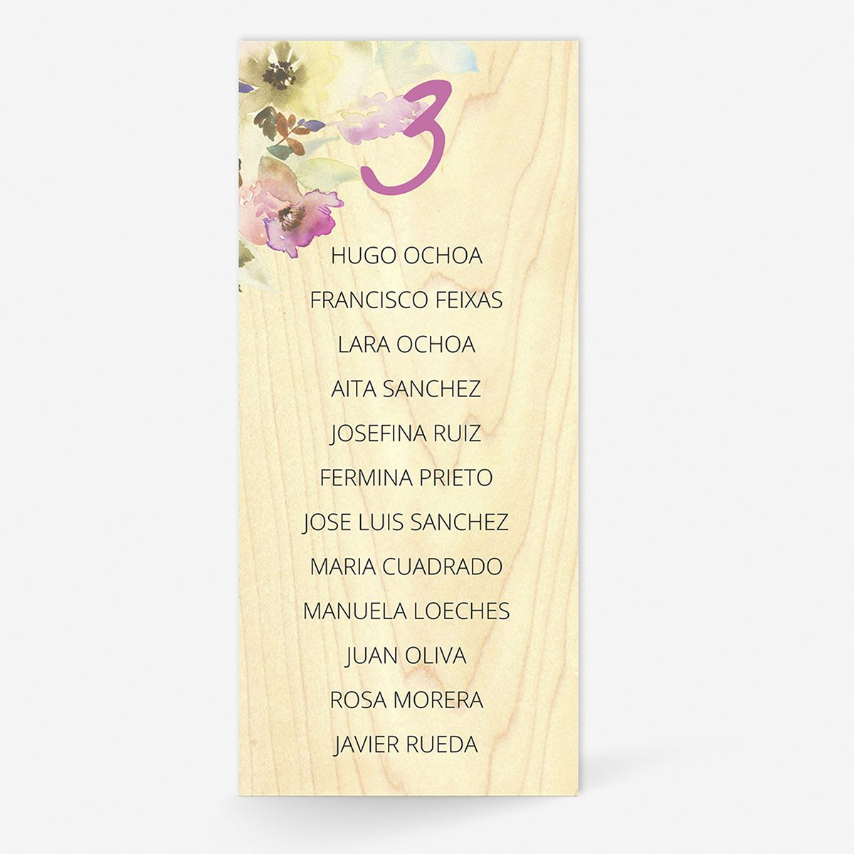 Plan de mesa (Seating plan) boda Woodellia