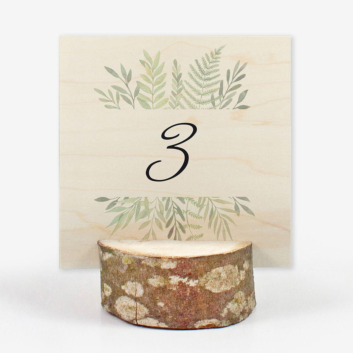 Número mesa boda Wood Hojas