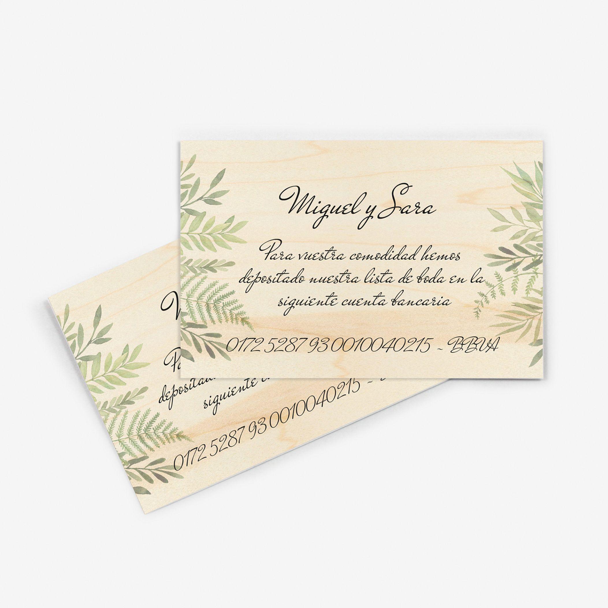 Tarjeta nº cuenta boda Wood Hojas