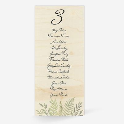 Plan de mesa (Seating plan) boda Wood Hojas