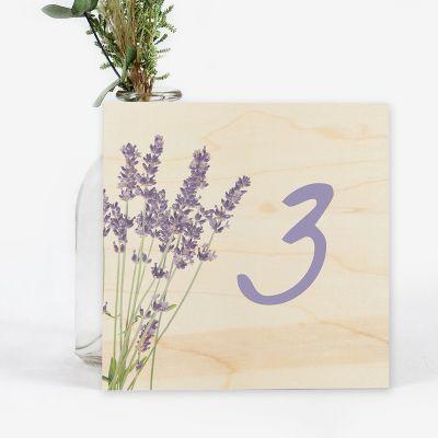 Número mesa boda Wood Lavanda