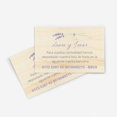 Tarjeta nº cuenta boda Wood Lavanda
