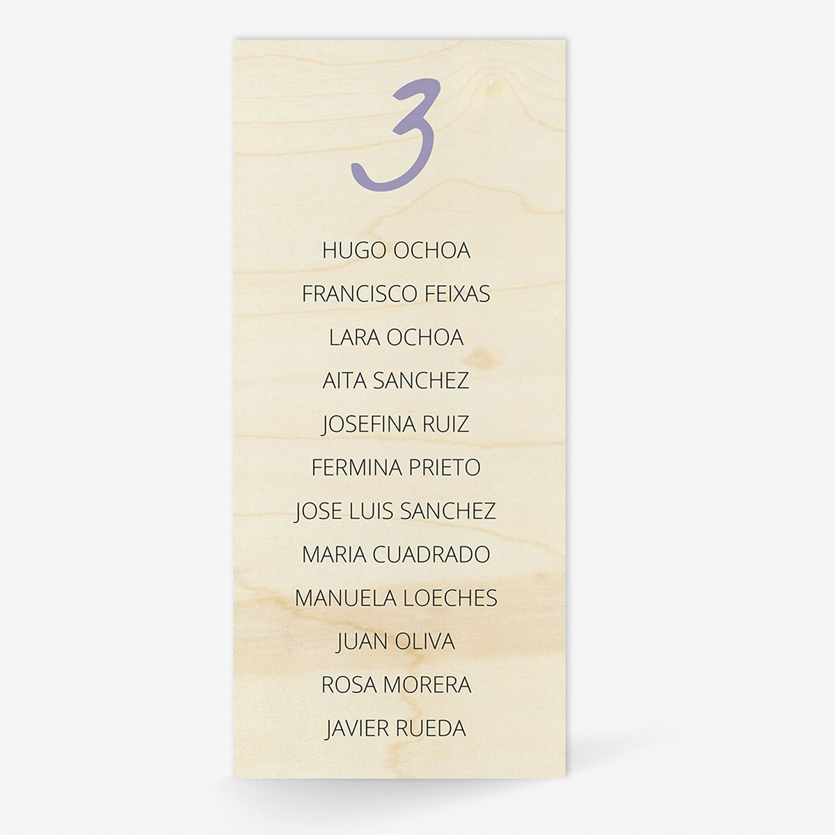 Plan de mesa (Seating plan) boda Wood Lavanda