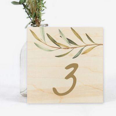 Número mesa boda Wood Olivo