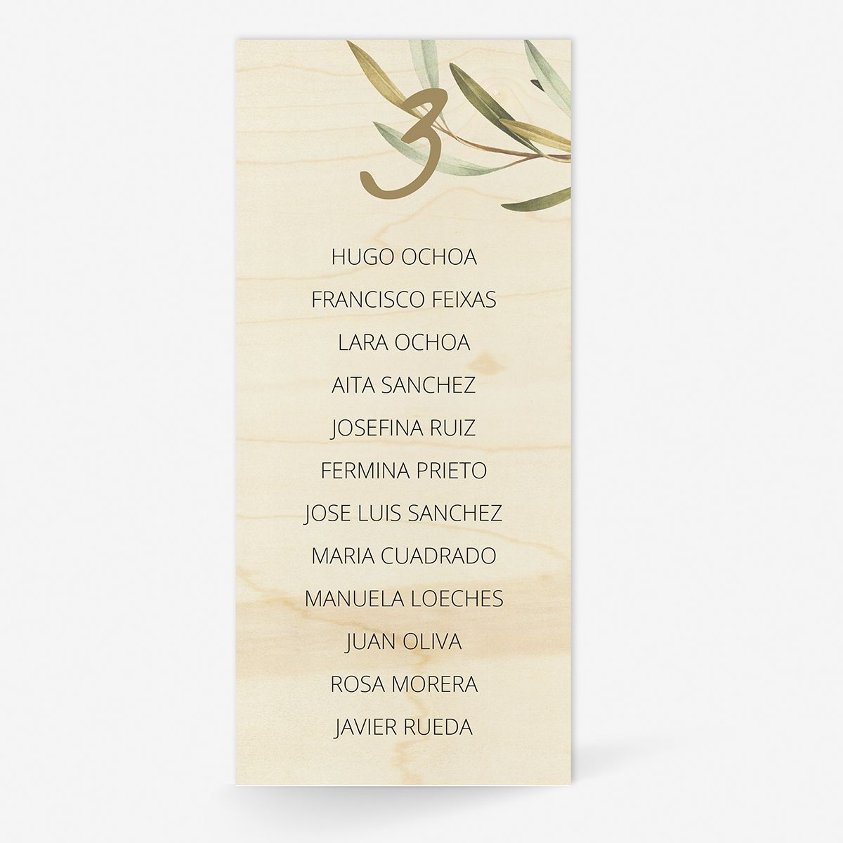 Plan de mesa (Seating plan) boda Wood Olivo