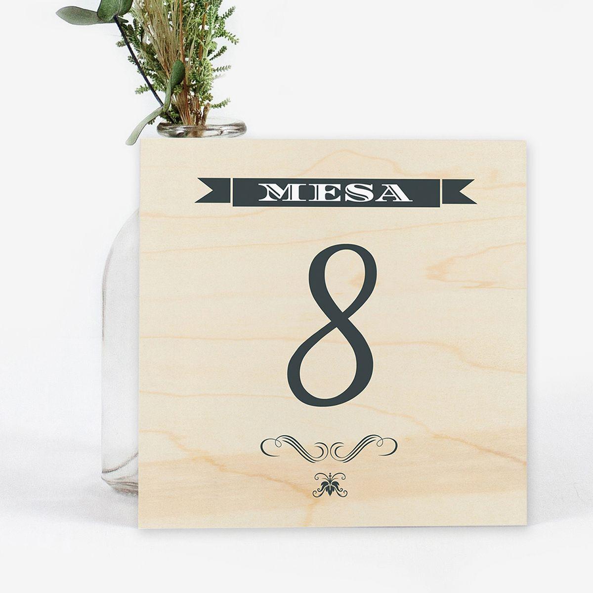Número mesa boda Wood Western