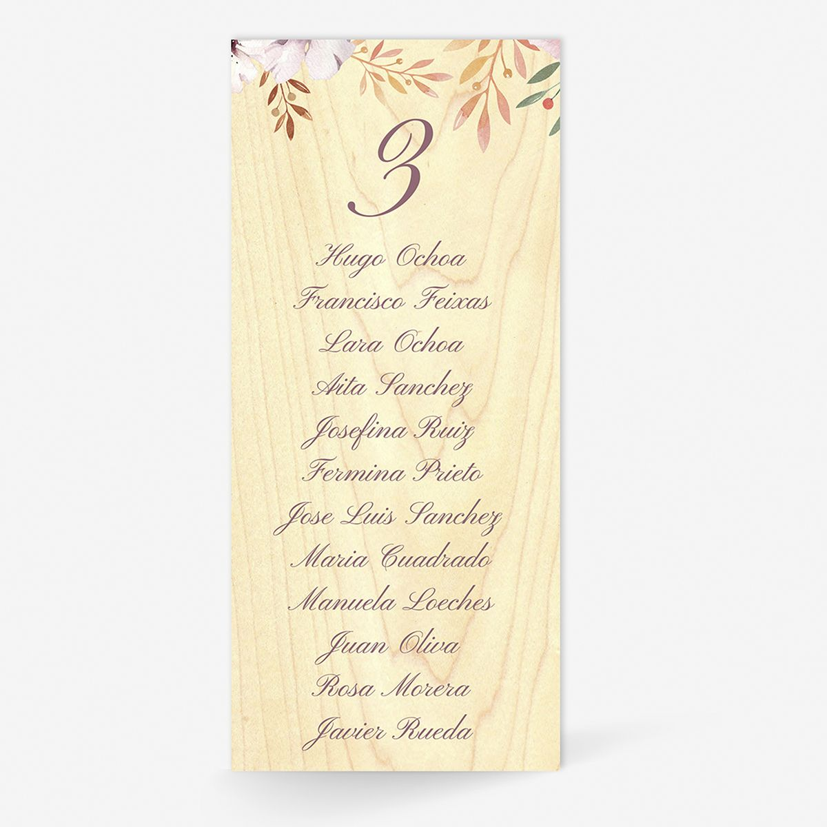 Plan de mesa (Seating plan) boda Woodona