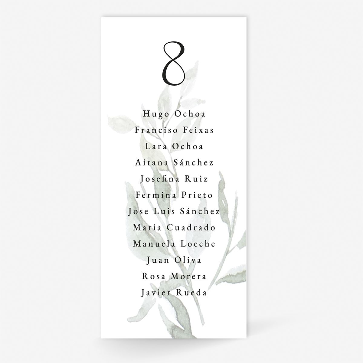 Plan de mesa (Seating plan) boda Villa