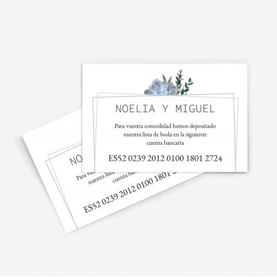 Tarjeta nº cuenta boda Paola
