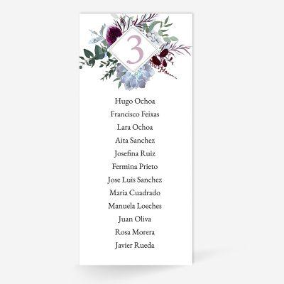 Plan de mesa (Seating plan) boda Paola