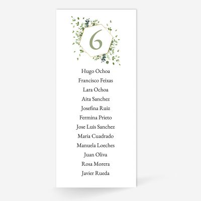 Plan de mesa (Seating plan) boda Gala