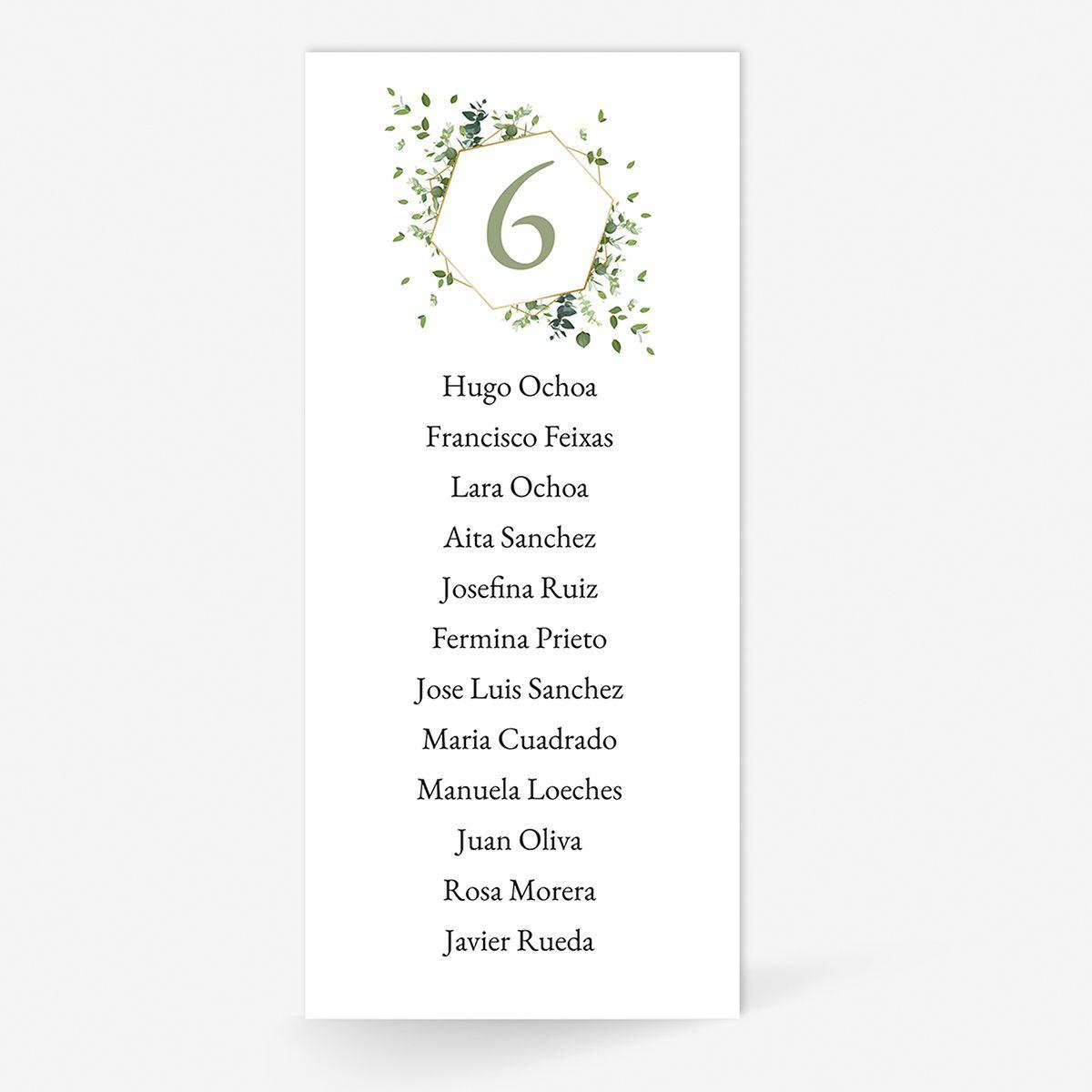 Plan de mesa (Seating plan) boda Gala