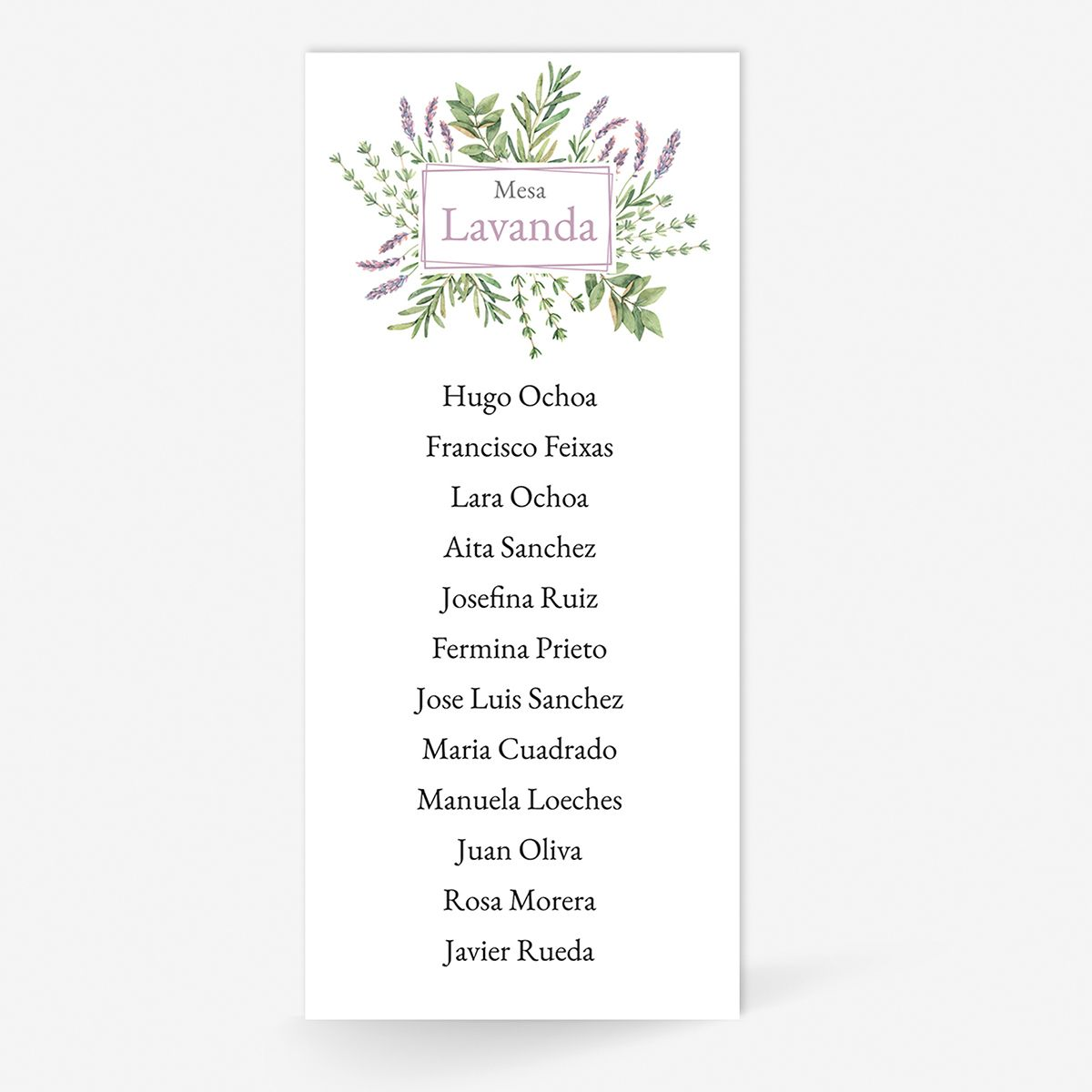 Plan de mesa (Seating plan) boda Aura