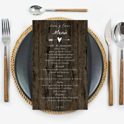 Minuta boda Wood Heart