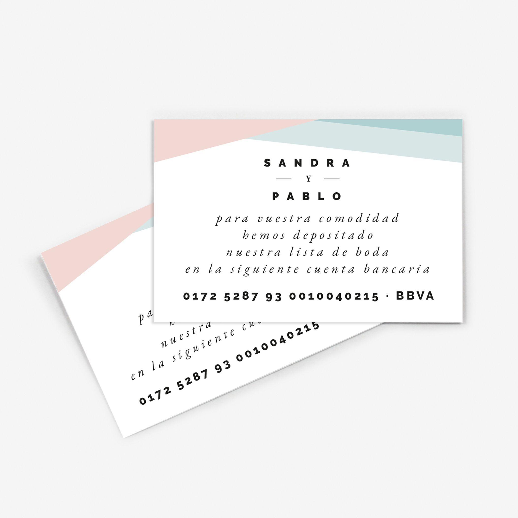 Tarjeta nº cuenta boda Paris Rosa