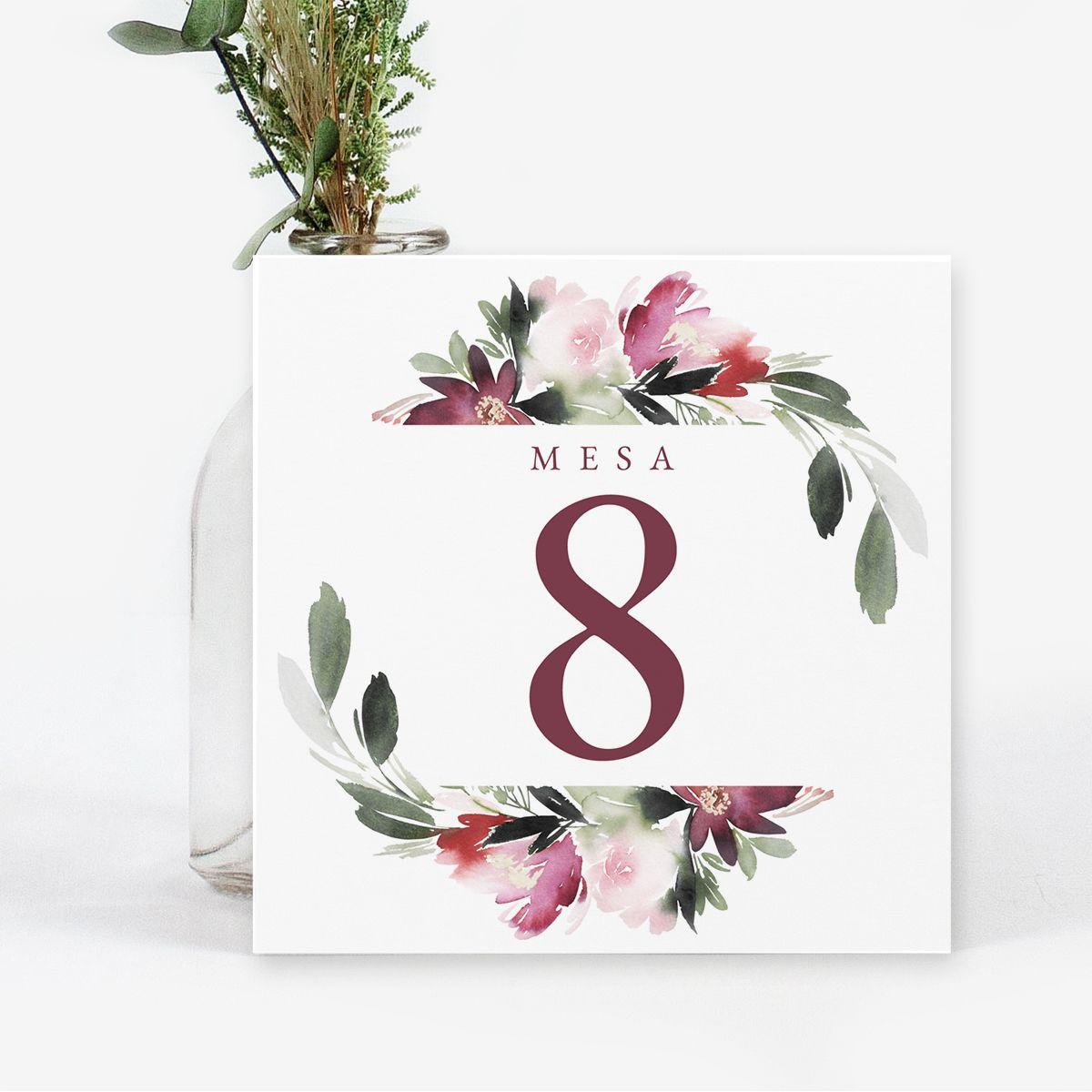 Número mesa boda Felicidad
