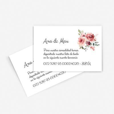 Tarjeta nº cuenta boda Granada