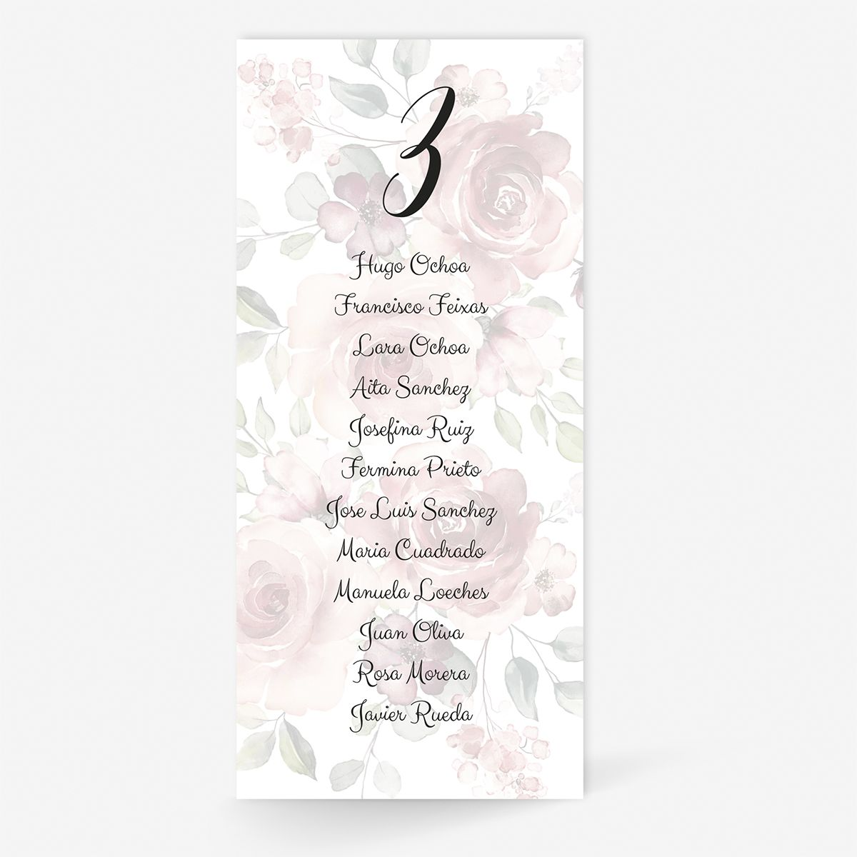 Plan de mesa (Seating plan) boda Granada
