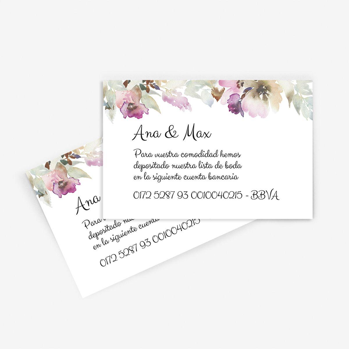 Tarjeta nº cuenta boda Lidia