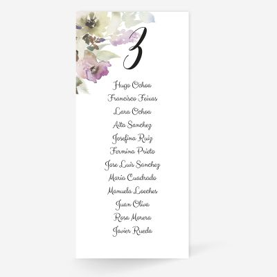 Plan de mesa (Seating plan) boda Lidia