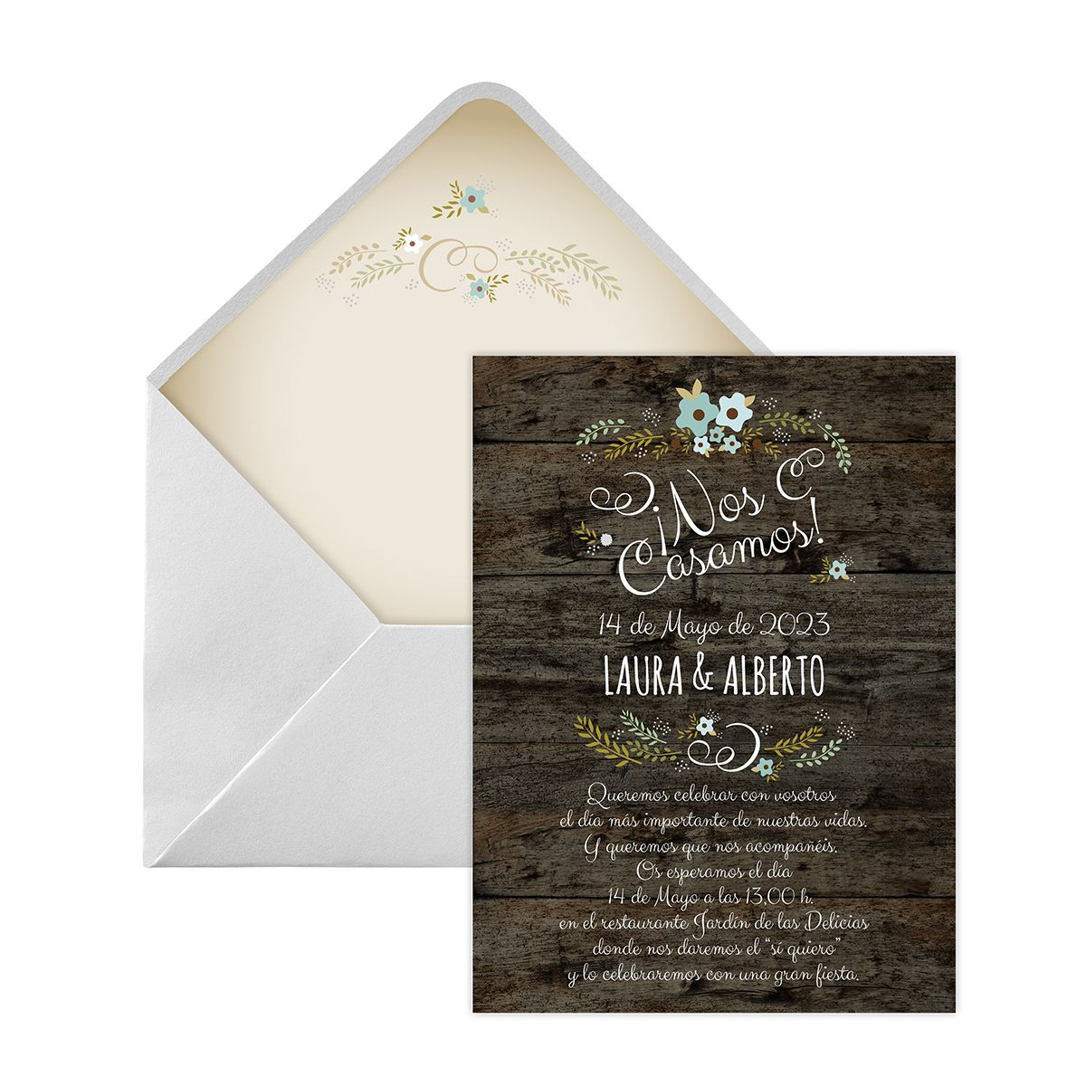 Invitacion boda Wood blue Digital