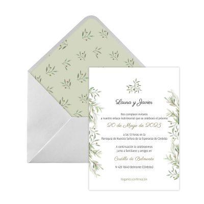 Invitación boda Verde Olivo Digital