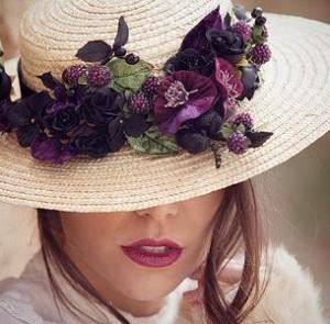 Flores moradas conjunto labios