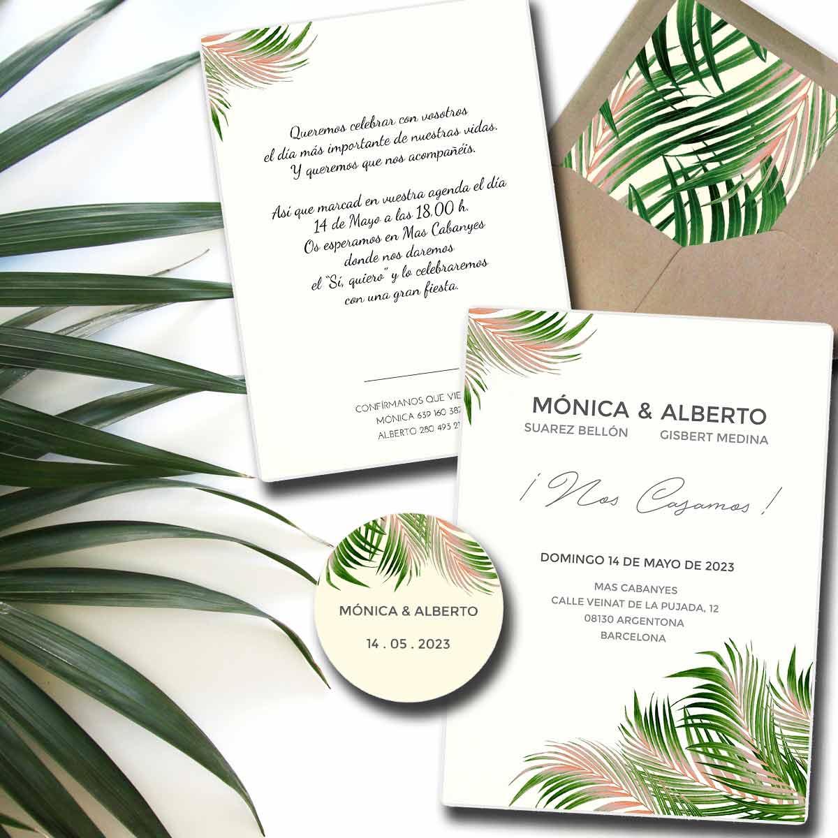 Invitación de boda Palm
